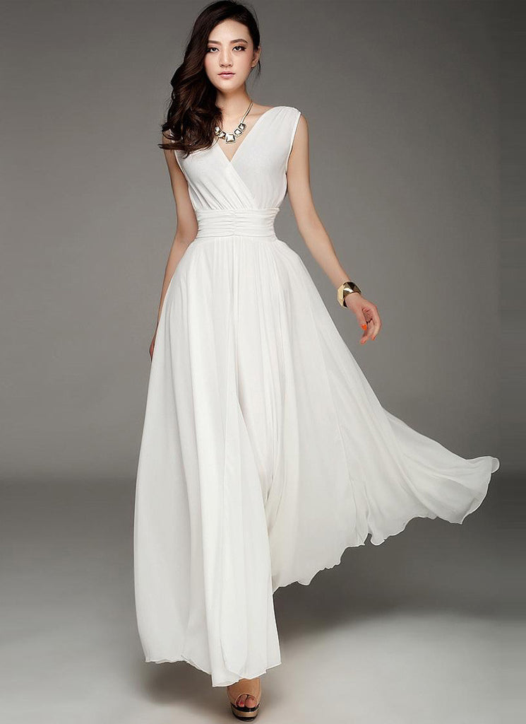 V Neck & V Back White Maxi Dress with Ruched Waist Yoke