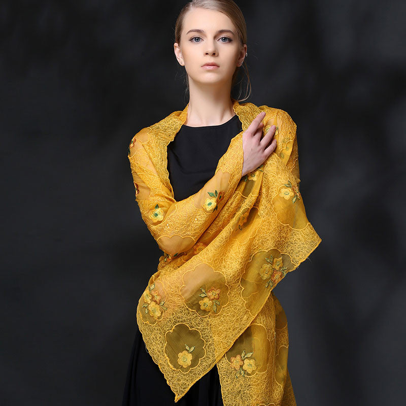 YELLOW FLORAL EMBROIDERED MULBERRY SILK SCARF - HANDMADE FLORAL EMBROIDERED SILK SCARF - FLORAL SILK SCARF -2016O1