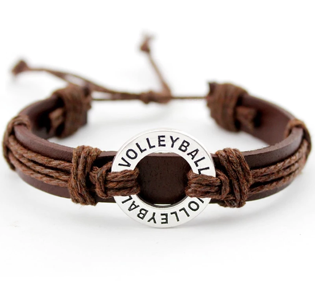 Volleyball swag leather brown bracelet adjustable cute detail