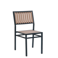 Black Steel Outdoor Restaurant Side Chair With Imitation Teak Vertical Slats