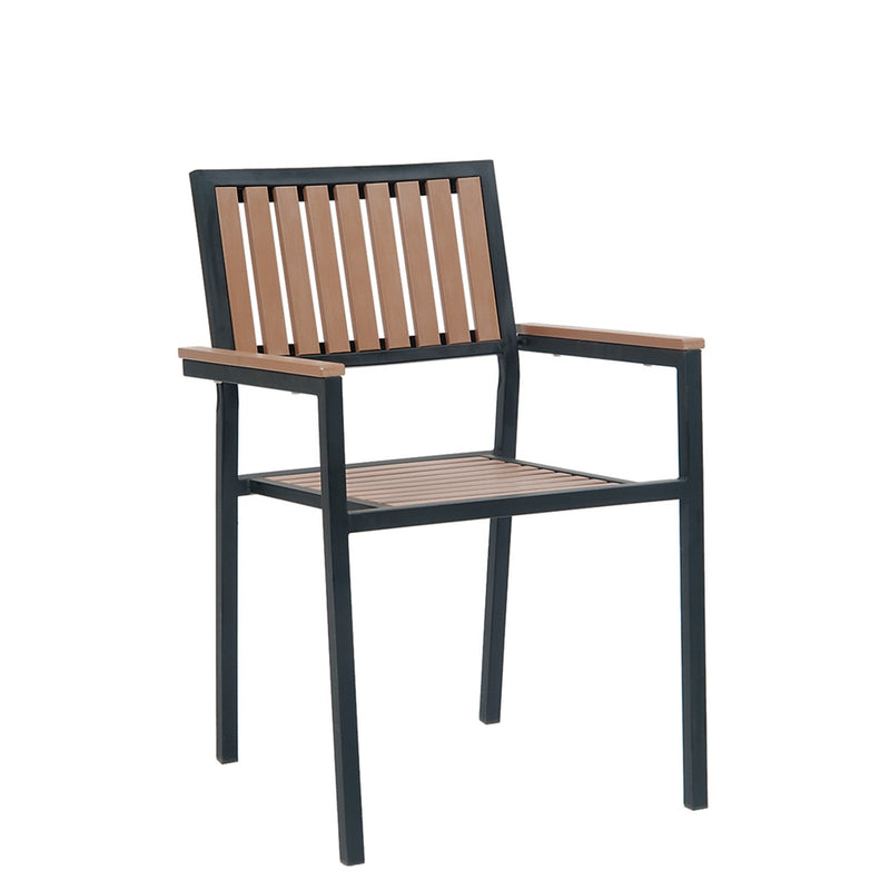 Outdoor Black Steel Restaurant Arm Chair With Imitation Teak Vertical Slats