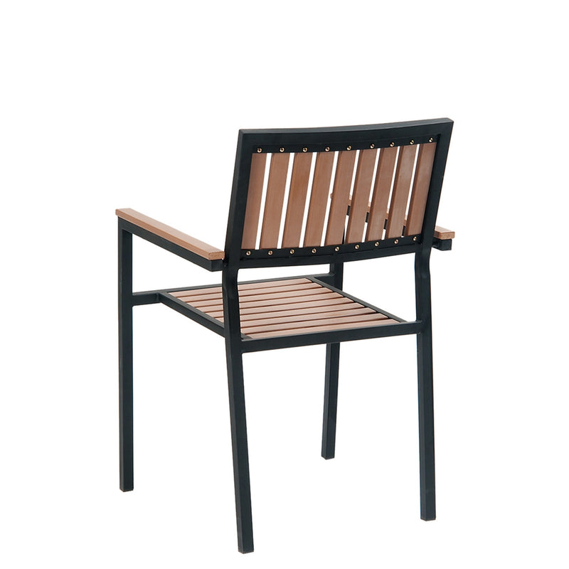 Outdoor Black Steel Restaurant Arm Chair With Imitation Teak Vertical Slats - Moda Seating Corp