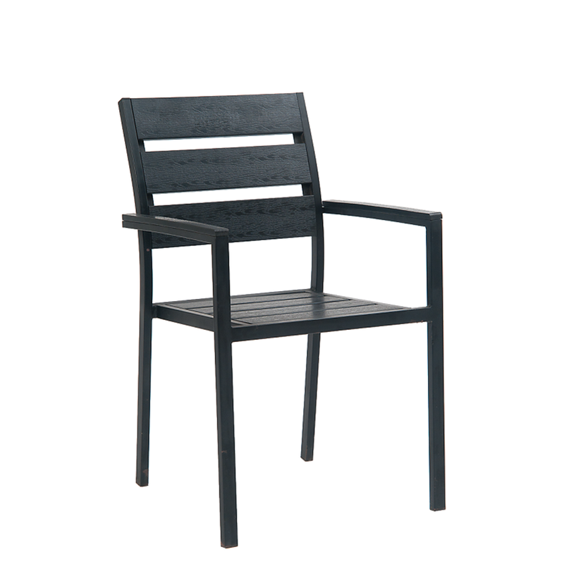 Black Steel Outdoor Restaurant Side Chair With Wide Black Imitation Teak Slats