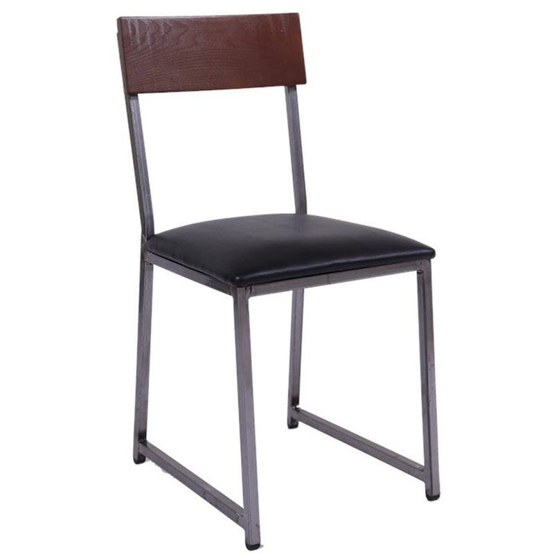 Clear Coated Metal Restaurant Chair with Walnut Rubber Wood Back & Black Vinyl Seat