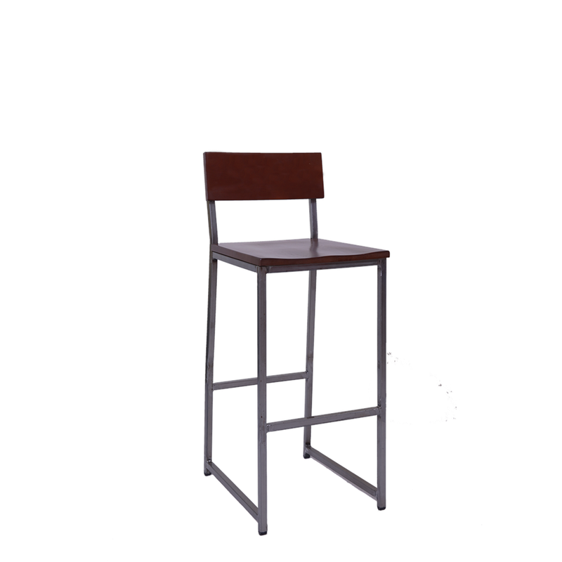 Clear Coat Metal Restaurant Bar Stool with Walnut Rubber Wood Back & Black Vinyl Seat - Moda Seating Corp