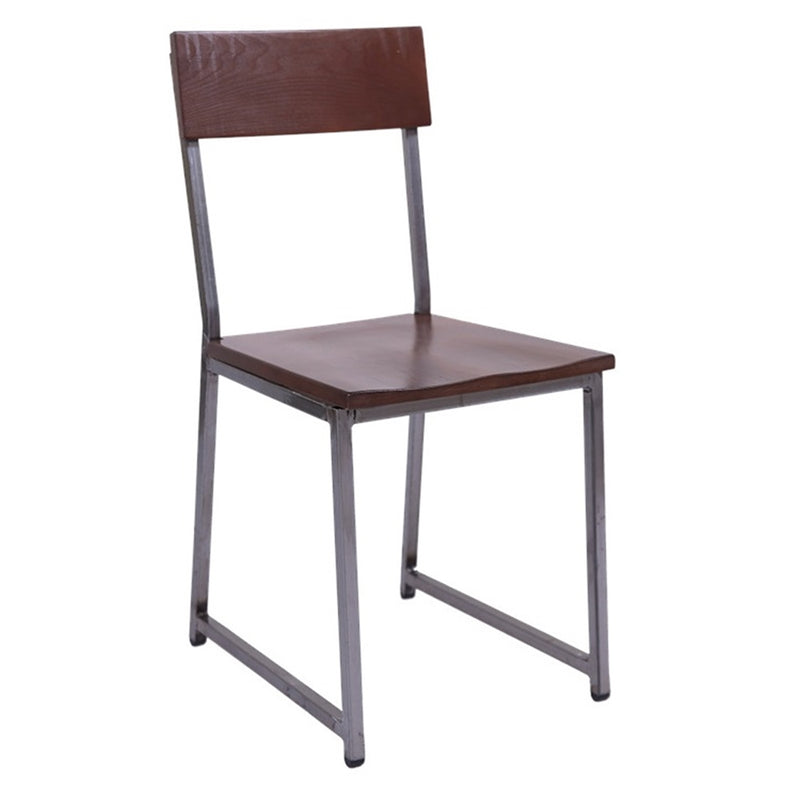 Clear Coat Metal Restaurant Chair with Walnut Rubber Wood Back & Seat