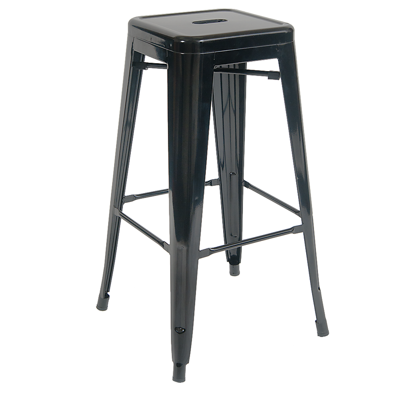 Indoor Backless Steel Restaurant Barstool in Black Finish - Moda Seating Corp