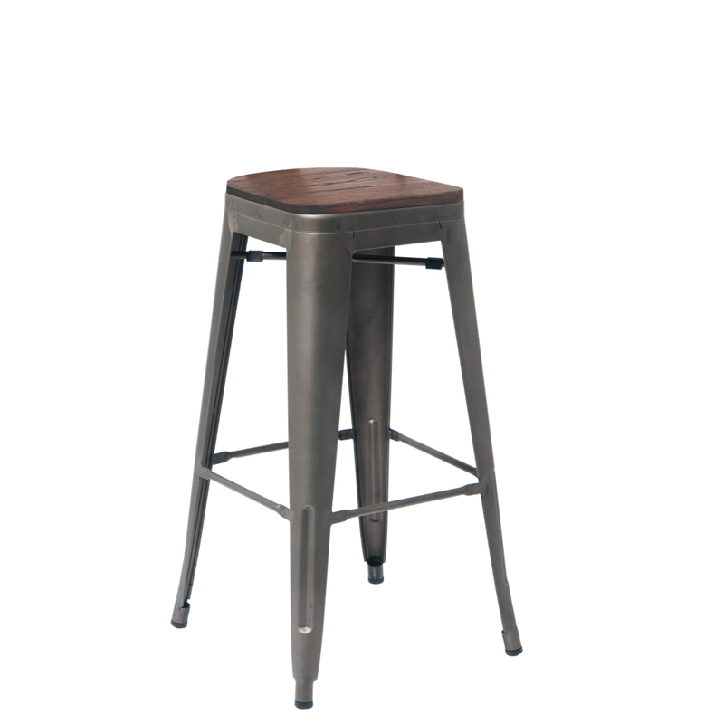 Indoor Steel Backless Restaurant Stool In Gun Color Coating With Walnut Elmwood Seat - Moda Seating Corp