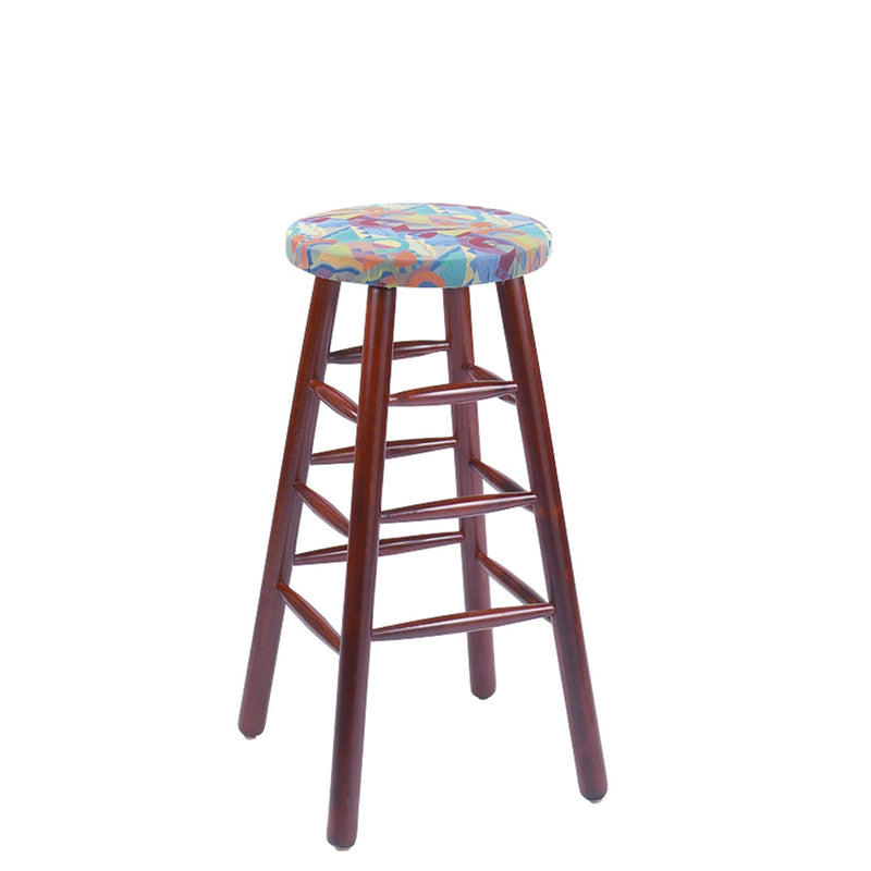 Ancient Padded Wood Backless Restaurant Stool