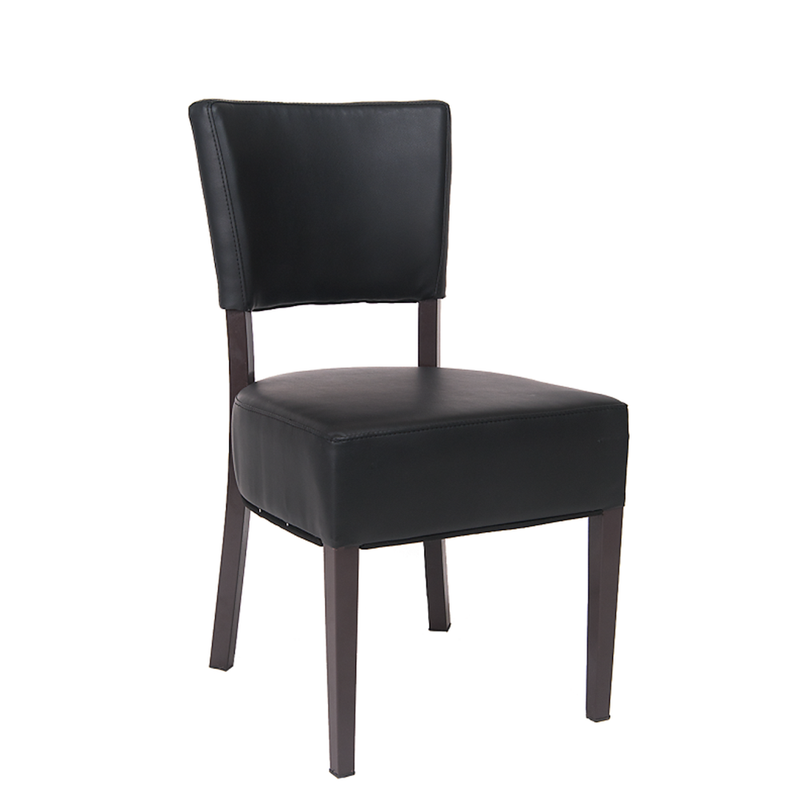 Brown Metal Indoor Restaurant Chair with Black Vinyl Back & Seat - Moda Seating Corp