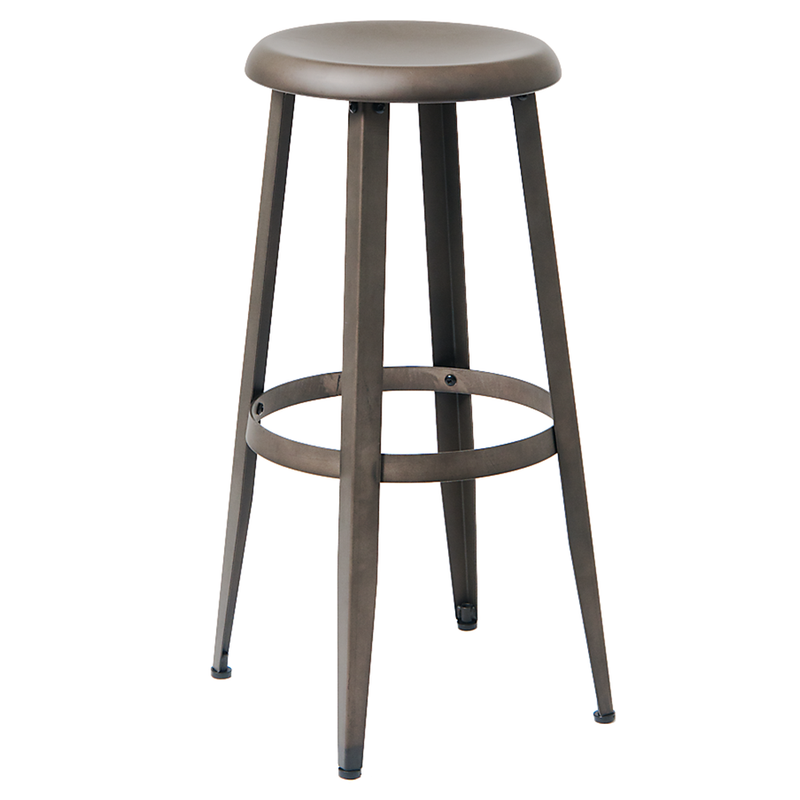 Indoor Steel Restaurant Barstool in Gun Color Coating