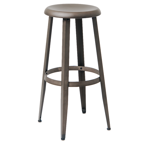 Indoor Steel Restaurant Barstool in Gun Color Coating - Moda Seating Corp