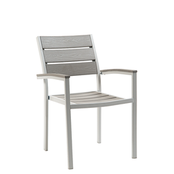 Grey Steel Outdoor Restaurant Chair With Light Grey Imitation Teak Slats