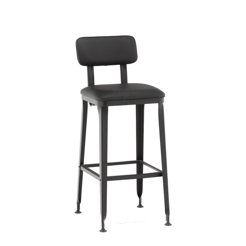 Indoor Black Steel Restaurant Bar Stool with Black Vinyl Seat & Back - Moda Seating Corp