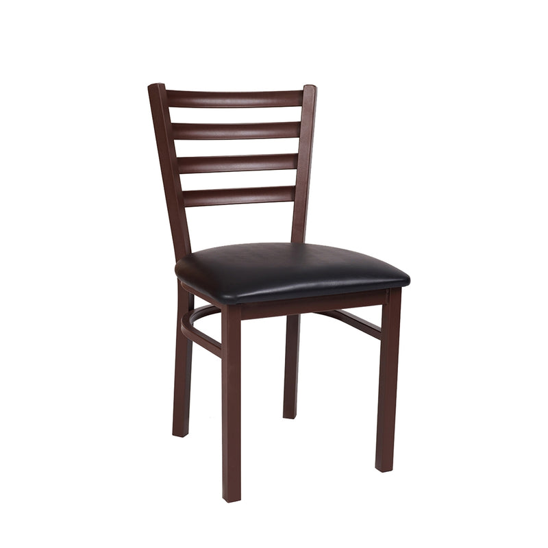 Indoor Ladder Back Brown Finish Metal Restaurant Chair