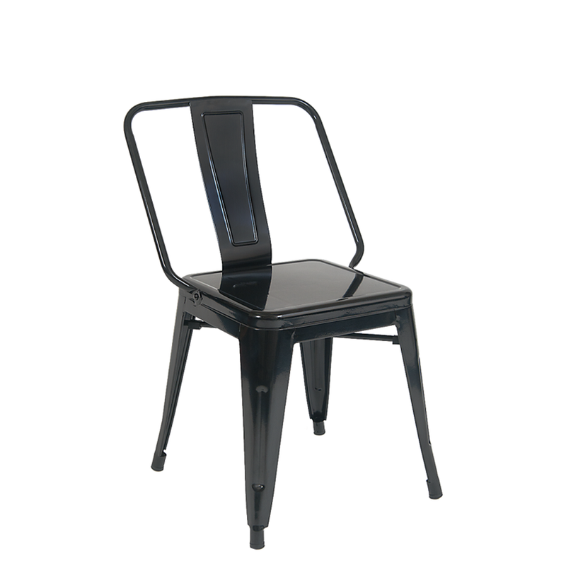 Iron Tolix-Style Indoor Dining Chair in Black Color