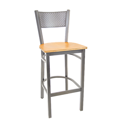 Black Metal Perforated Back Indoor Restaurant Barstool