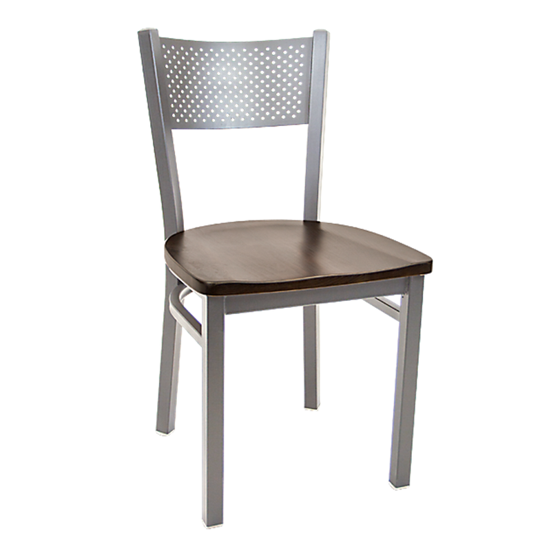 Metal Grey Finish Perforated Back Indoor Restaurant Chair - Moda Seating Corp