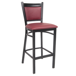 Indoor Black Metal Restaurant Barstool with Burgundy Vinyl Back & Seat
