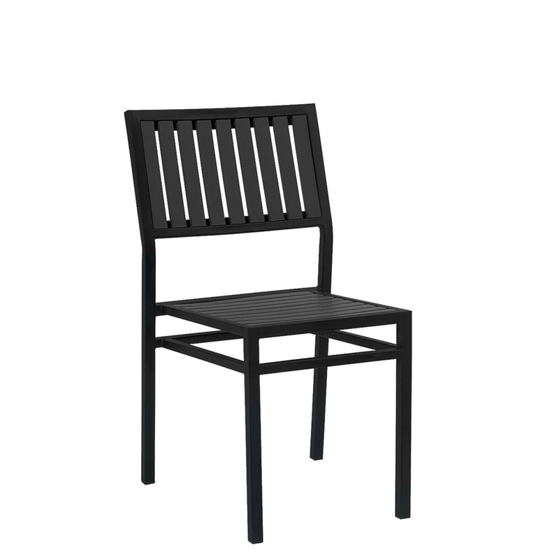 Black Steel Restaurant Chair With Black Imitation Vertical Teak Slats