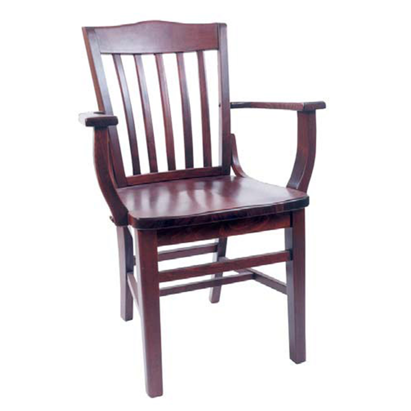 School House Indoor Solid Beech Wood Restaurant Arm Chair