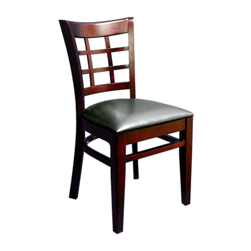 Solid Beech Wood Lattice Back Indoor Restaurant Side Chair
