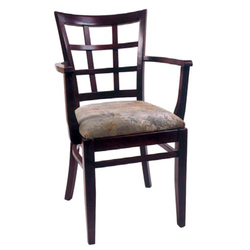 Window Lattice Solid Beech Wood Restaurant Arm Chair