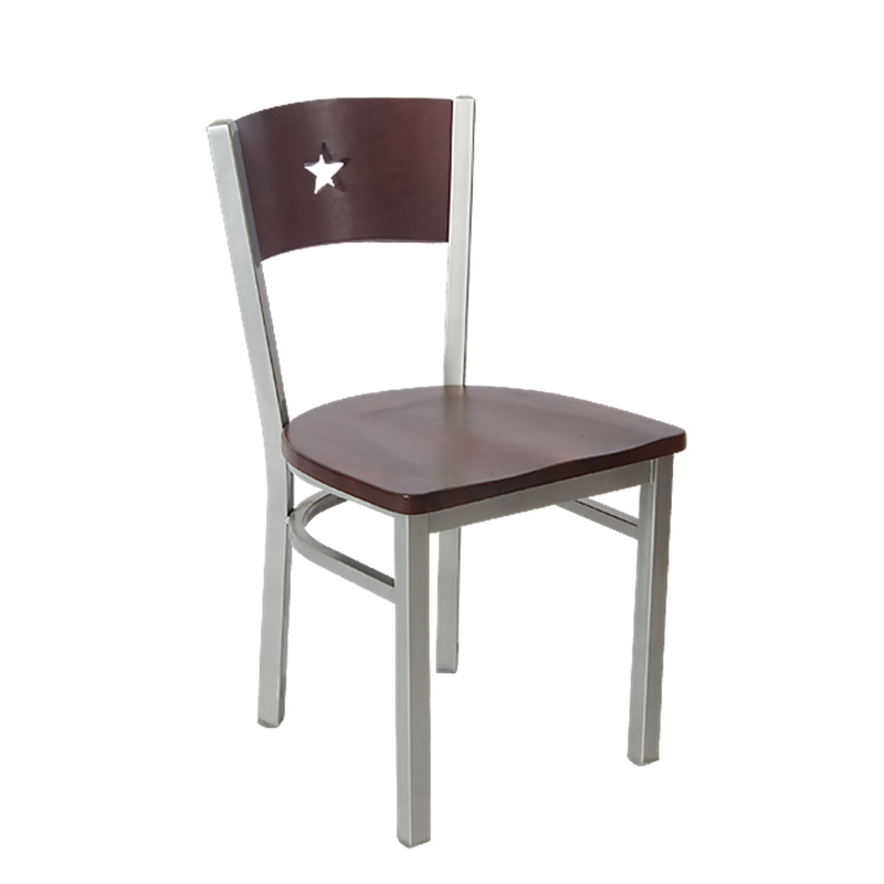 Indoor Grey Finish Star Back Metal Restaurant Chair - Moda Seating Corp