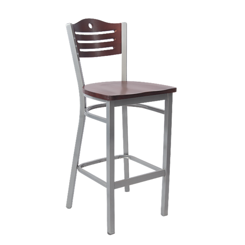 Grey Finish Metal 3 Slats with Circle Indoor Restaurant Barstool - Moda Seating Corp