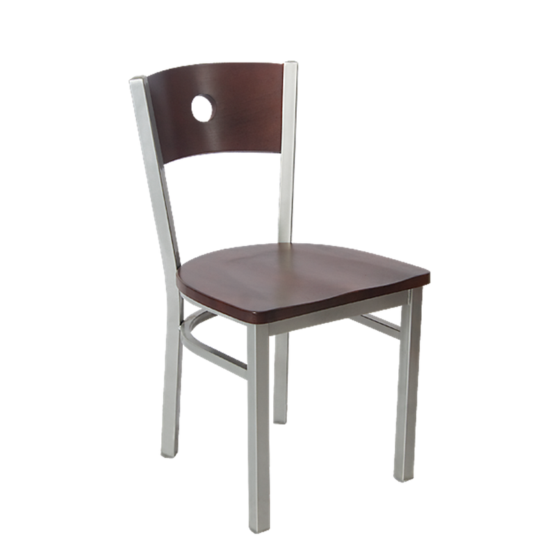 Indoor Grey Finish Circle Back Metal Restaurant Chair