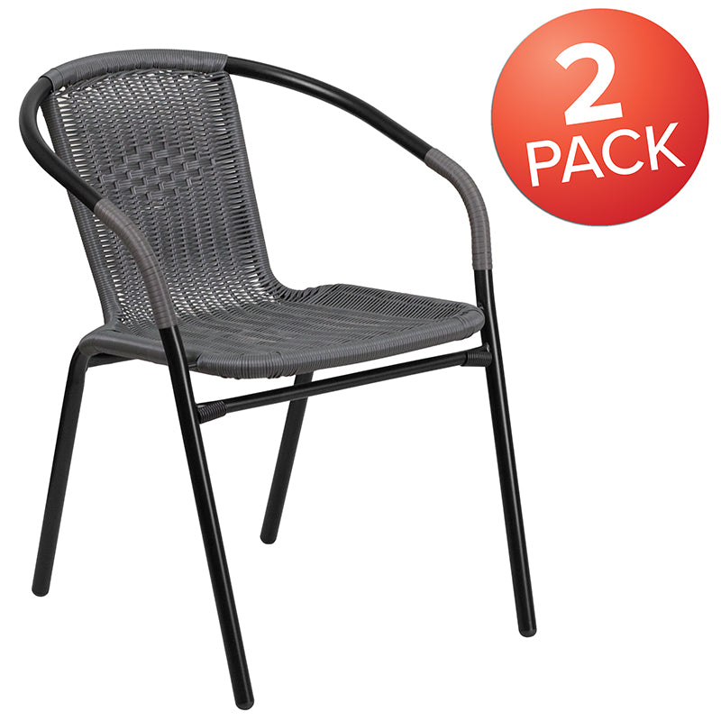 2 Pack Gray Rattan Indoor-Outdoor Restaurant Stack Chair