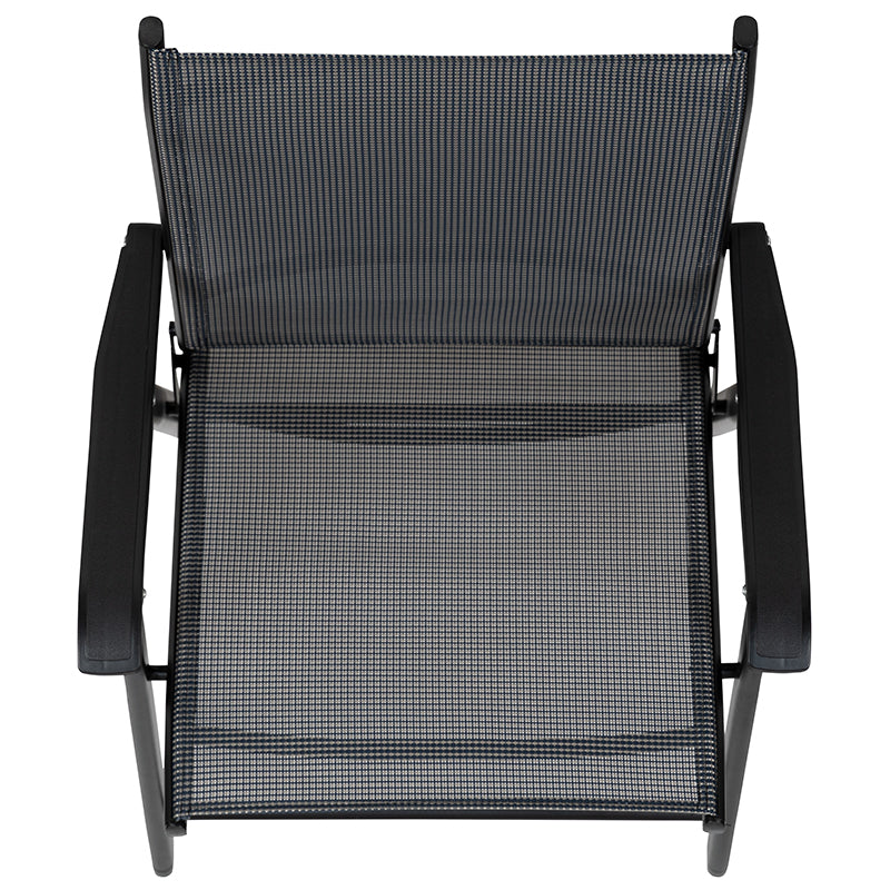 Black Outdoor Folding Patio Sling Chair (2 Pack)