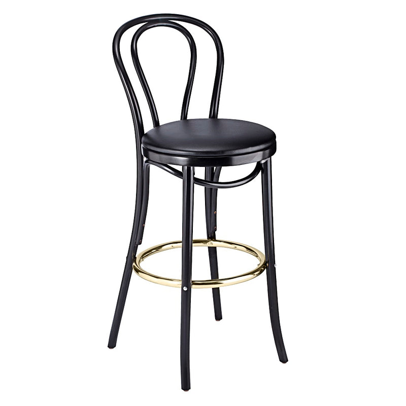 Classic Bentwood Solid Beech Wood Hairpin Restaurant Bar Stool With Gold Footrest - Moda Seating Corp