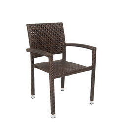 Brown Aluminum Poly Woven Outdoor Restaurant Armchair