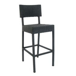 Aluminum Black Synthetic Outdoor Wicker Restaurant Barstool