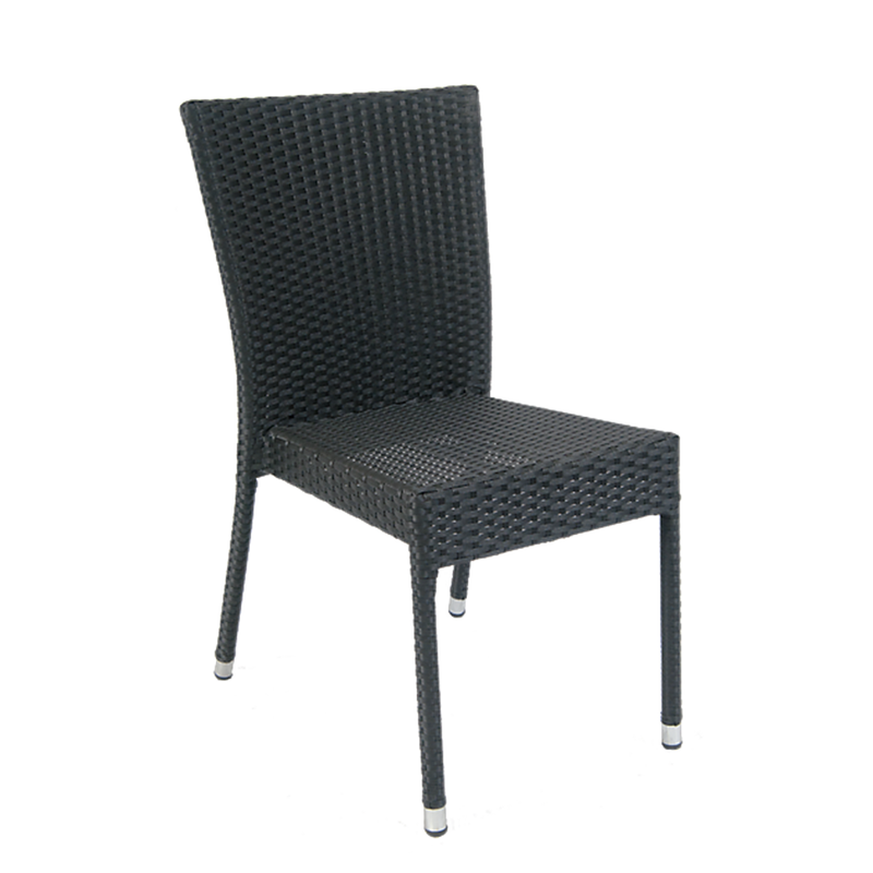Aluminum Black Synthetic Wicker Outdoor Restaurant Chair - Moda Seating Corp