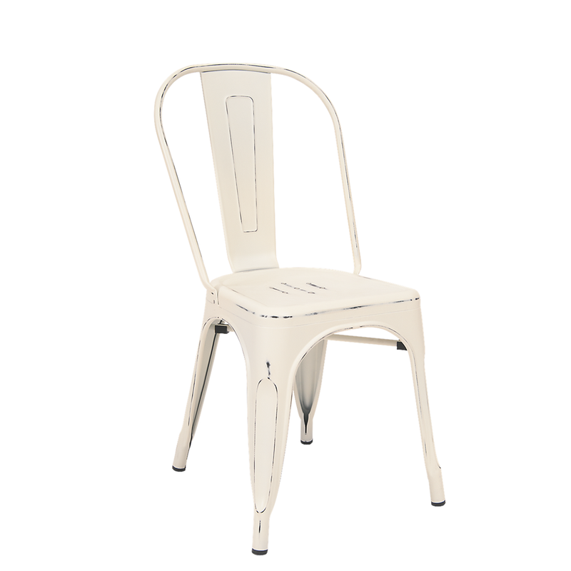 Indoor Steel Restaurant Chair in Antique White Finish - Moda Seating Corp
