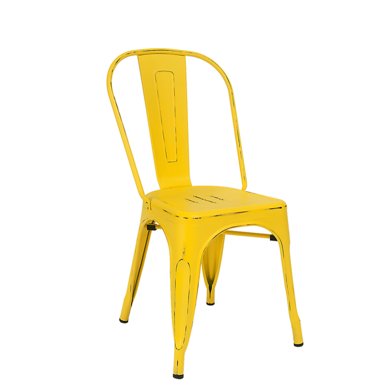 Indoor Steel Restaurant Chair in Antique Yellow Finish