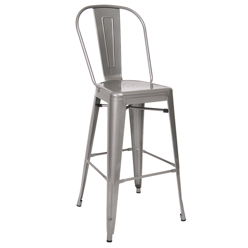 Indoor Steel Restaurant Barstool in Light Grey Finish - Moda Seating Corp