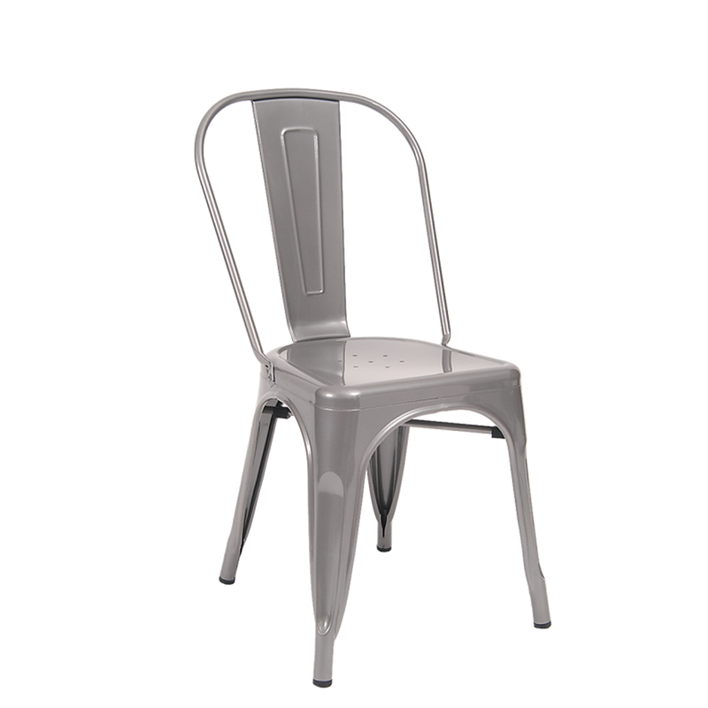 Indoor Steel Restaurant Chair in Light Grey Finish
