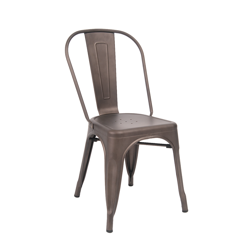 Indoor Steel Restaurant Chair in Gun Color Coating