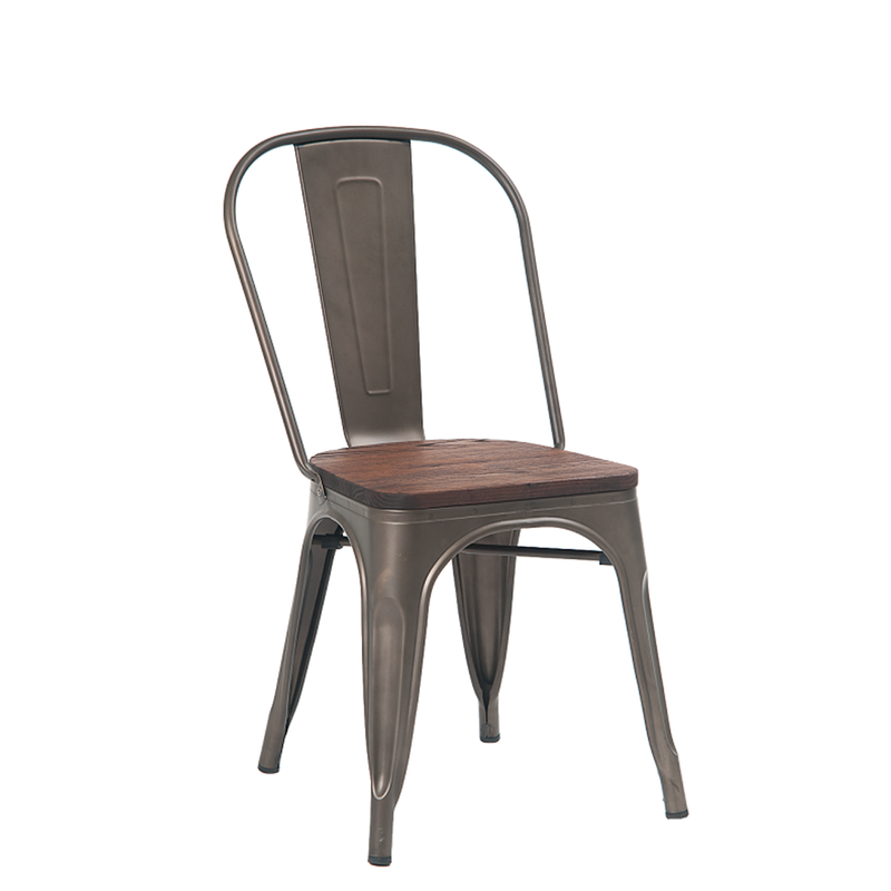 Indoor Steel Restaurant Chair In Gun Color Coating With Walnut Elmwood Seat