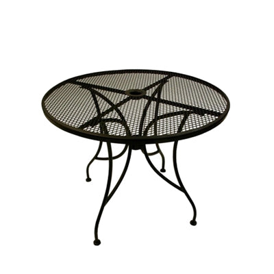 "24"" Round Wrought Iron Mesh Outdoor Restaurant Table With 2 Umbrella Hole"