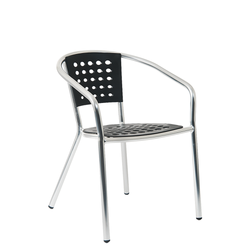 Aluminum Outdoor Armrest Restaurant Chair with Black Resin Seat & Back