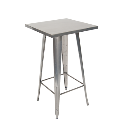 24x24 Inch Indoor Bar Height Steel Restaurant Table in Clear Coated Finish - Moda Seating Corp