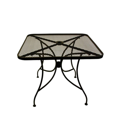24x24 Inch Square Wrought Iron Mesh Outdoor Restaurant Table with 2 Inch Umbrella Hole