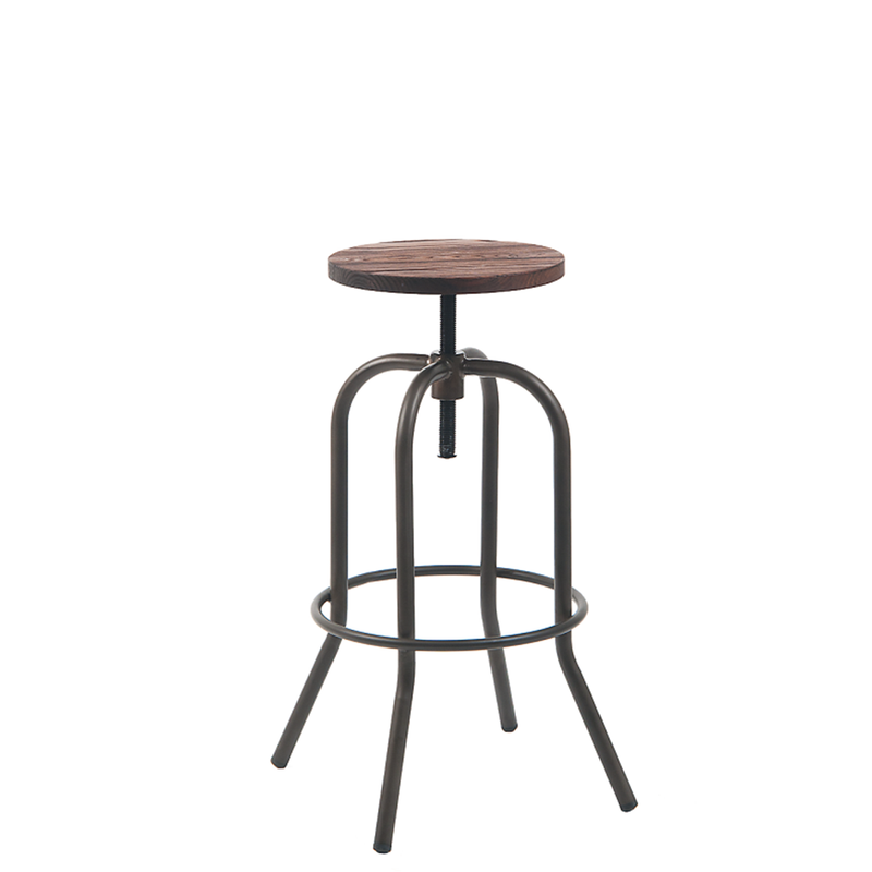 Indoor Steel Backless Swivel Restaurant Stool In Gun Color Coating With Walnut Elmwood Seat