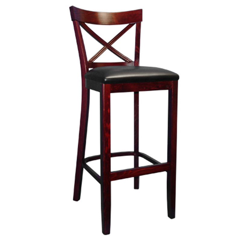 French Back Solid Beech Wood Indoor Restaurant Bar Stool - Moda Seating Corp