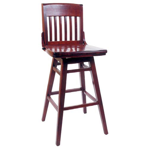 Library Swivel Solid Beech Wood Indoor Restaurant Bar Stool