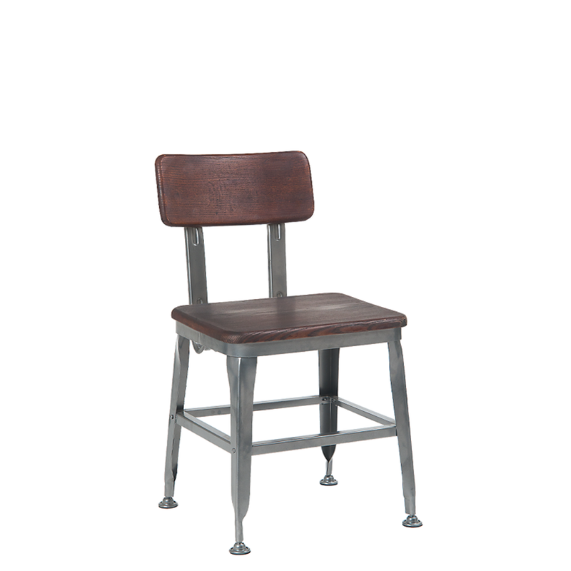 Indoor Steel Restaurant Chair in New Gunmetal Color With Walnut Elmwood Seat & Back - Moda Seating Corp